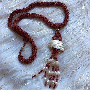 Jewelry - Boho Beaded Shell Tassel Necklace